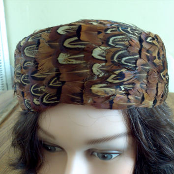 Brown Feather Hat Mid Century Antique womens hat ladies High Fashion Vintage tag says Western Germany Kentucky Derby Flapper Style
