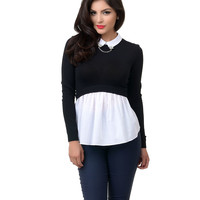 Black & White Collared Color Block Knit Sweater Top