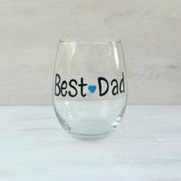 Best Dad hand painted stemless wine glass