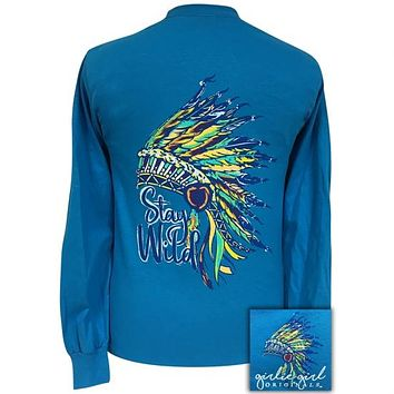 Girlie Girl Originals Preppy Stay Wild Feathers Long Sleeve T-Shirt