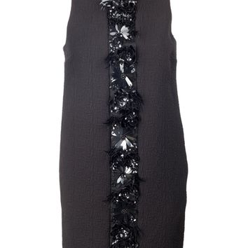 Black Shift Dress with Front Embellishment
