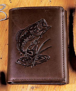 Genuine Leather Tri Fold Wallet Embossed From Cornerstone