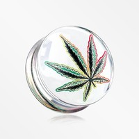 A Pair of Cannabis Leaf Clear UV Double Flared Ear Gauge Plug