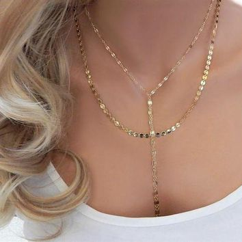 ac NOOW2 TTMM Fashion Double Layer Necklace Metal Disc Chain Trendy Lariat Choker Necklace for Women  N260