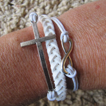 USA Seller - White Silver Cross Love and Infinity Heart Charm Wrap Bracelet
