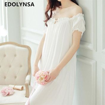 ESBONJ New Arrivals Summer Long Nightgowns O-neck Loose Ladies Dresses Princess Sleep Wear Solid Lace Home Dress Sexy Nightdress #H10