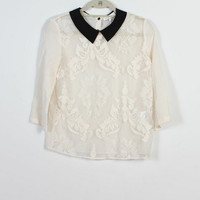 Sandro White Lace Silk Top With Black Collar