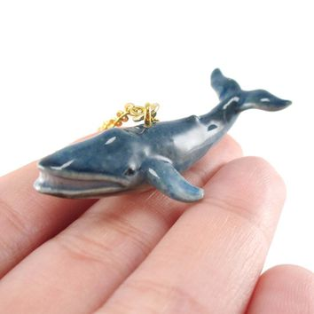 Porcelain Blue Whale Shaped Hand Painted Ceramic Animal Pendant Necklace | Handmade
