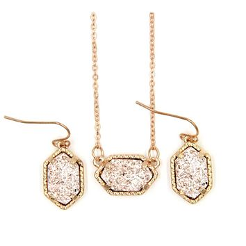 Druzy Pendant Necklace With Matching Drop Earrings