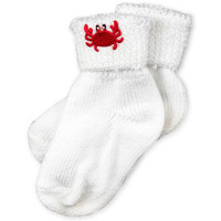 White Cotton Socks with Crab Applique