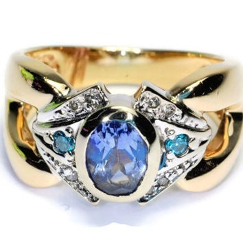 Vintage 1.3 Ct Natural Cornflower Sapphire and Blue Diamond Ring Size 5