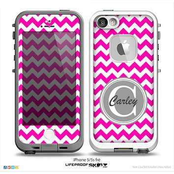 The Dark Pink & White Chevron Monogram Name Script Skin Gray v1 Skin for the iPhone 5-5s Fre LifeProof Case