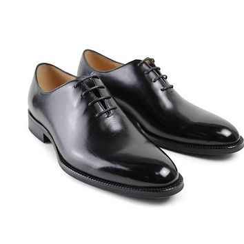 Men Rushed Flat 2017 Italy Latest Custom Mens Oxford Shoes Formal Black Party Business Wedding Genuine Leather Original Design
