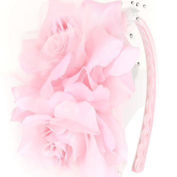 Girls Pink Organza & Satin Double Flower Headband