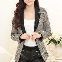 Chic Plaid Lace-Lapel Blazer - OASAP.com