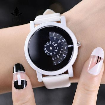 2018 BGG creative design wristwatch camera concept brief simple special digital discs hands fashion quartz watches for men women