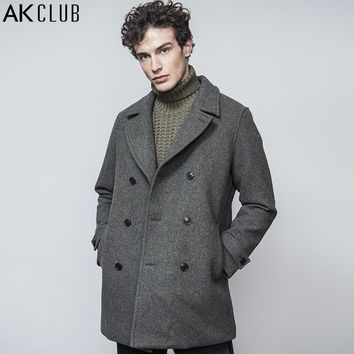 Wool Jacket Medium-Long Lapel Fashion Show Collection Wool Coat Double Breasted Outwear Men Jacket