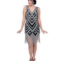 Unique Vintage 1920s Style Black & Silver Deco Beaded Forster Flapper Dress