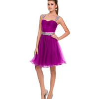 Magenta Tulle Short Dress