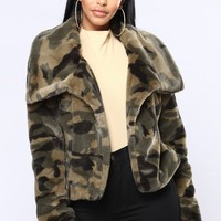 No Fear Faux Fur Jacket - Camo