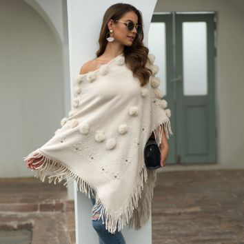 Women's Shawl, Fringed Cloak, Ball-nailed Round-necked Sweater