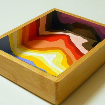 Rainbow Stripes small Bamboo Tray by Precious by PreciousBeast