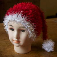 Hand knitted fluffy red & white Christmas Santa hat - gift or photo prop - Hand Knit Baby Children Girl Boy Hat Clothing - all sizes made