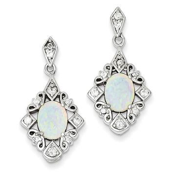 Sterling Silver Created Opal Oval And CZ Dangle Post Earrings