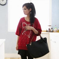 YESSTYLE: ASOBI- Elbow-Sleeve Dotted Print T-Shirt (Red - One Size) - Free International Shipping on orders over $150