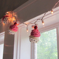 Fake Cupcake Pink Rockabilly String of Lights by 12LegsCuriosities