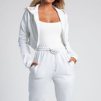 Johanna Zip Through Cropped Loopback Hoodie - White