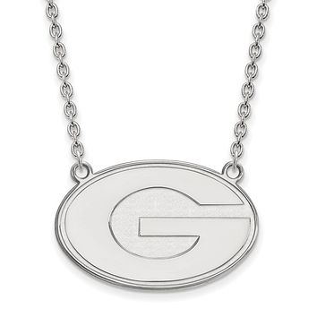NCAA Sterling Silver U of Georgia Large 'G' Disc Pendant Necklace