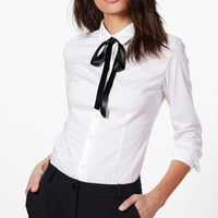 Christina Tie Neck Shirt | Boohoo