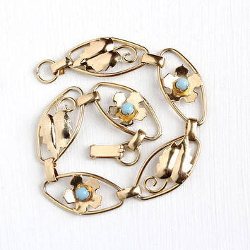 Vintage 12k Rosy Yellow Gold Filled Simulated Turquoise Flower & Leaf Bracelet - Retro 1940s Baby Blue Glass Stone Floral Panel Jewelry