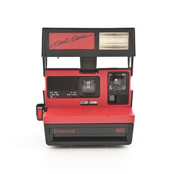 Polaroid Cool Cam Black and Red rare Polaroid 600 Instant Camera Tested - Working 80s retro instant camera