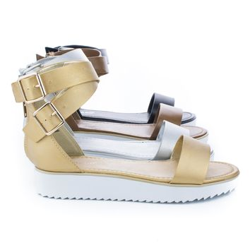 Pansy02 Flatform Open Toe Criss Cross Buckle Ankle Wrap Flat Sandals