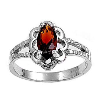 Sterling Silver Marquise Flower Filigree CZ Garnet 11MM CZ Petite Rings