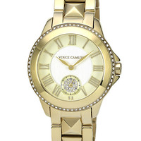 Vince Camuto Ladies Gold-Tone Pyramid Stud Strap Watch