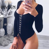 IMYSEN 2017 Autumn New Sexy Bodysuit Women Solid Black Long Sleeve Bodysuits Rivet One Piece Low Cut Skinny Jumpsuits