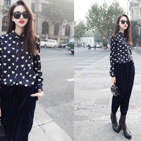 Blue Long Sleeve Heart Patterned Blouse