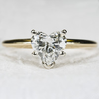 1.50ctw Solitaire Heart Diamond Ring 14k Gold Engagement Wedding Ring