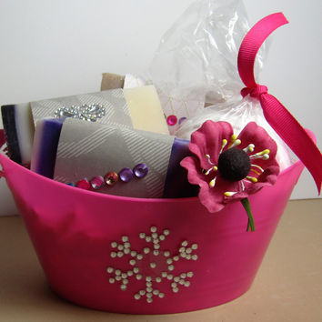 Soap Collections - Handmade Soap Gift Basket - 3 bars of 1 oz Soap and Large Bath Bomb