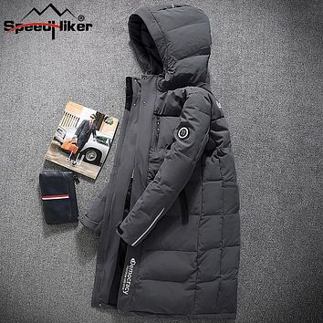 [Speed Hiker] X-long Down Jacket Men 2017 winter Waterproof Young Guy Removable Hooded Fashion Style Embroidery Logo Cool 3XL