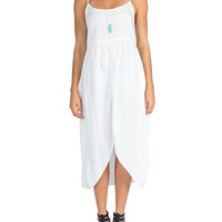 Hi Low Trapeze Tank Dress - White - Large