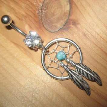 Rugged Turquoise Double Feather Dream Catcher Belly Button Ring- Genuine Stone Dreamcatcher Charm Dangle Clear Gem Navel Piercing