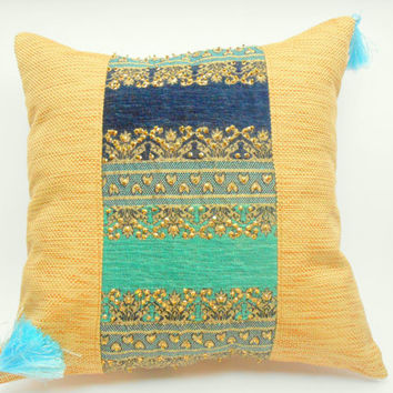 Decorative Burlap Pillow with Embroidered Peacock Blue Brocade Panel, Ethnic Pillow - 16'x16""