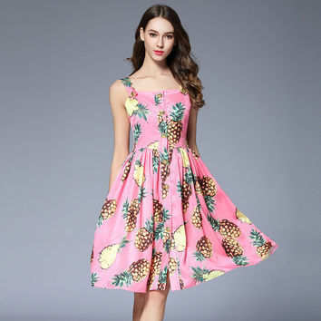Summer Fashion Sweet Pineapple Fruit Print Dress Women Sexy Sleeveless Off Shoulder Beach Dresses Femme Backless Runway Vestidos