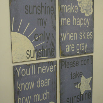 You Are My Sunshine Nursery Decor Lavender Nursery Decor Shabby Chic Nursery Distressed Wood Sign Baby Shower Gift New Baby Gift Handpainted