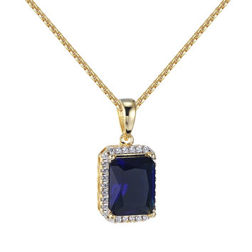 14k Gold Finish Blue Ruby Style Pendant Cubic Zircon Hip Hop Free Necklace 24 Inch