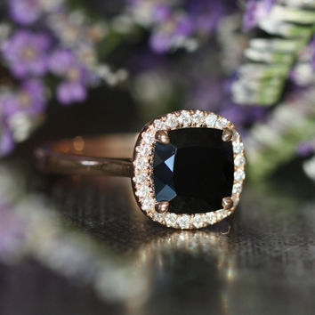 14k Rose Gold Black Spinel Halo Diamond Engagement Ring 8x8mm Cushion Cut Gemstone Ring (Bridal Wedding Ring Set Available)